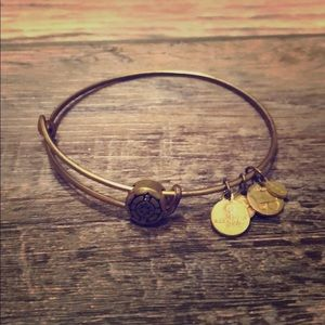 Alex and Ani Gold Toned Compass Slider Bracelet